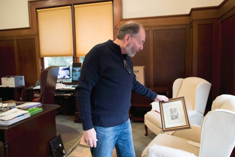 PORTLAND TRIBUNE: JAIME VALDEZ - Landau holds a sketch of The Forum he bought when in Rome for an overseas program at Lewis & Clark. Landau planned to give it as a parting gift to Chief Justice Thomas A. Balmer, a friend who also went on the overseas program.
