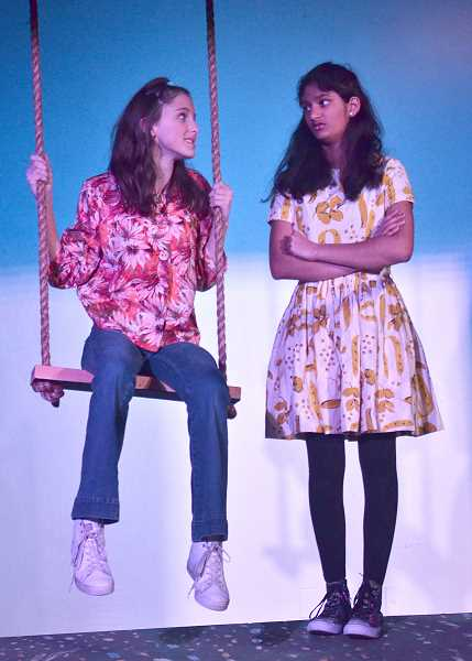 REVIEW PHOTO: VERN UYETAKE - Alli Jaffe (left) stars as Bree and Arya Reddy plays Ruthie in 'A Tree With Arms,' which runs Jan. 11-13 at Lakeridge Junior High School.