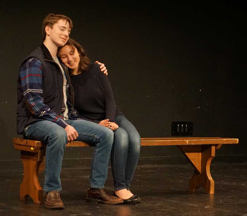REVIEW PHOTO: CLAIRE HOLLEY - In the first love story of 'Almost, Maine,' Lake Oswego High students Andrew Firmin and Julia Dragu play a young couple gazing at the stars on a park bench on a seemingly perfect night.