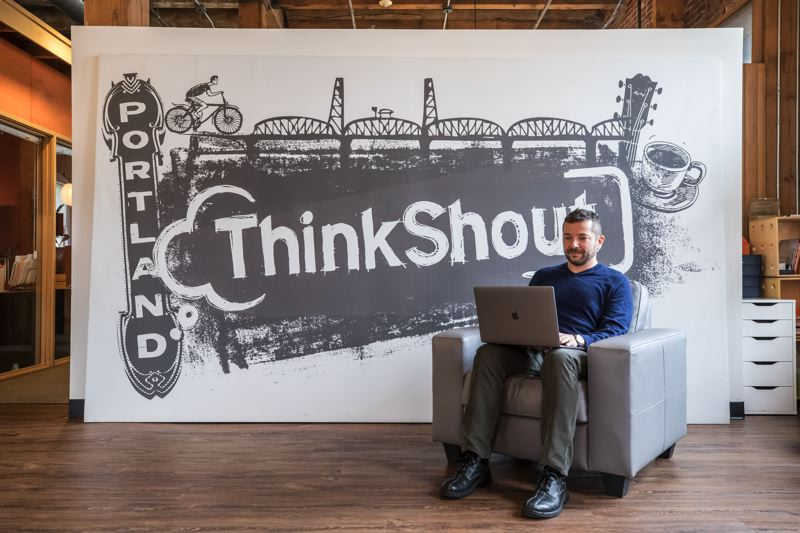 TRIBUNE PHOTO: JONATHAN HOUSE - Digital agency ThinkShout CEO and founder Lev Tsypin at work in the firm's Old Town office. ThinkShout recently launched Bene, a cut-price web solution for nonprofits on a budget.