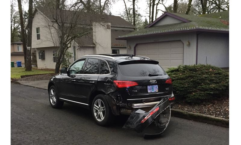 PHOTO COURTESY: OSP - A driver got in a chase in Clackamas County and was later arrested after hitting a truck and a Oregon City police car. The car was reported stolen out of Wilsonville.