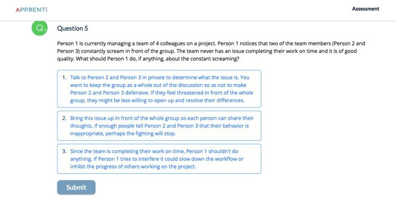 SOURCE: APPRENTI WEBSITE - A soft skills question from the Apprenti screening process.