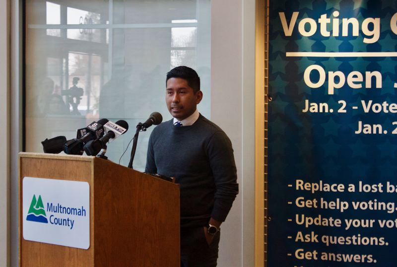 OUTLOOK PHOTO: CHRISTOPHER KEIZUR - Gresham's Ricki Ruiz is excited about the new Express Voting Center at the Multnomah County East Building.