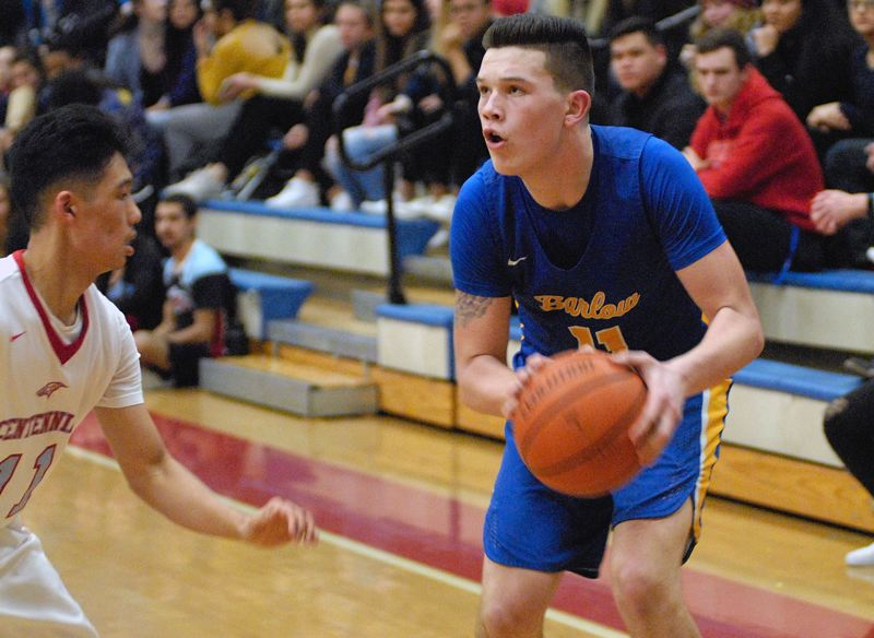 GRESHAM OUTLOOK: MATT RAWLINGS - Barlow's Dominic Jacoby prepares to rise up for the jump shot.