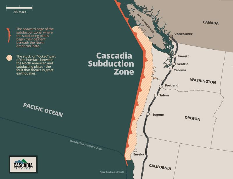 COURTESY OF THE FEDERAL EMERGENCY MANAGEMENT AGENCY - The Cascadia Subduction Zone stretches from Northern California to British Columbia, a region that's home to about 8 million people.