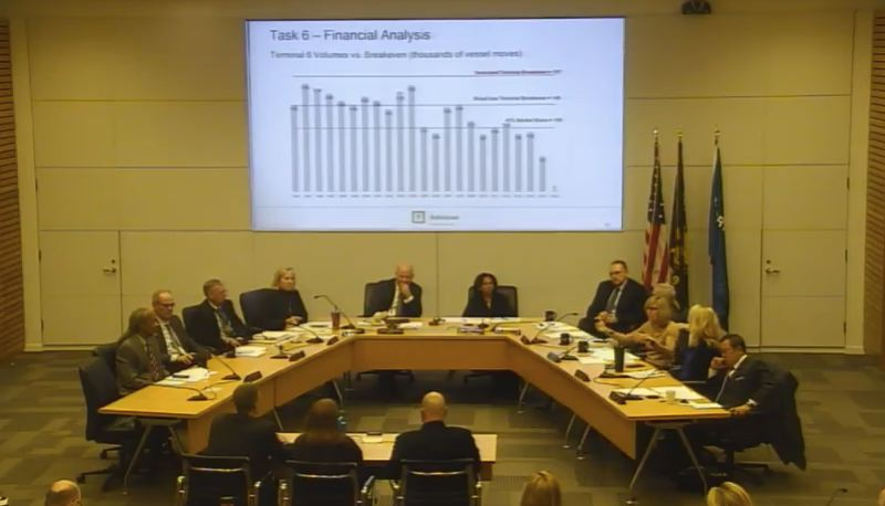COURTESY: POR OF PORTLAND/YOUTUBE - Port of Portland commissioners listening to a trio from the  consultant team Advisian Worley Parsons. They were presenting the findings from a business study of how Terminal 6 can survive. Director Curtis Robinhold is center left, facing the camera. Nolan Gimpel of Advisian is back to the camera, left.