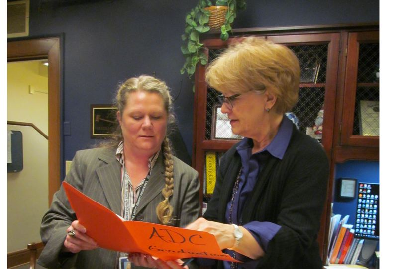 PHOTO BY ELLEN SPITALERI - Dawn J. Haskett, treatment court coordinator, left, consults with Clackamas County Circuit Court Judge Kathie Steele about the upcoming Adult Drug Court graduation.