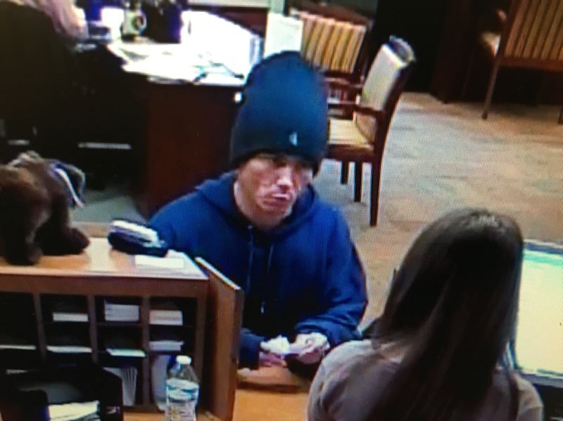 PHOTO COURTESY: MILWAUKIE PD - Security images show a man who allegedly robbed the Bank of the West in Milwaukie on Jan. 12.