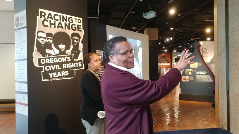 TRIBUNE PHOTO: JENNIFER ANDERSON - Gwen Carr and other members of the nonprofit Oregon Black Pioneers stress that the current exhibit couldn't come at a more relevant time. Visitors will find plenty of ways to engage — through song, art, history and recalling artifacts from the era.