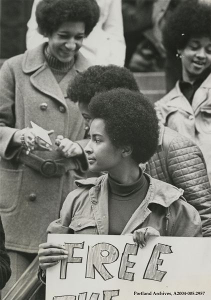 COURTESY: CITY OF PORTLAND ARCHIVES/OHS - Sandra Ford, a member of the Black Panthers, protests at the U.S. Courthouse in Portland in 1970.
