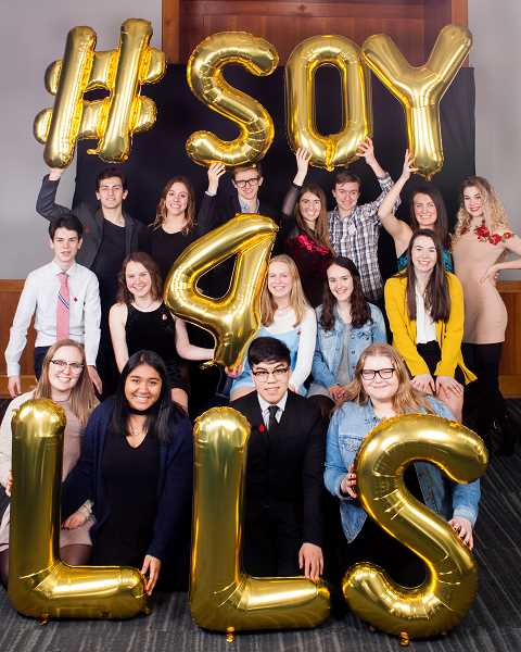 SUBMITTED PHOTO - Candidates in the Leukemia & Lymphoma Society's Students of the Year contest include (back row from left) Will Ackerman, Oregon Episcopal School; Carmen Hansen, Bend Senior High; Elias Roessler, Lincoln High; Celeste Williams and Henrik Hunt, Lakeridge High; and Lindley Patton and Caroline Pahl, Lakeridge High. Also: (middle row from left) Ben Finnell, Wilson High; Georgia Baker, Eliza Herring and Samantha Lyon, Cleveland High; and Abby Manley, West Linn High. And; (front row from left) Natalie Snow and Olivia Porior, Tigard High; and Nathan Hernandez and Payton McKereghan, Aloha High. Not pictured: Emily Fogg, West Linn High.