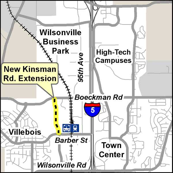 SUBMITTED GRAPHIC: CITY OF WILSONVILLE - The location of the Kinsman Road extension project between Boeckman Road and Barber Street.