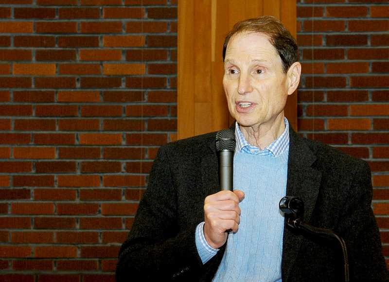 SUSAN BRANNON - U.S. Sen. Ron Wyden appeared in a town hall meeting Sunday at the Chehalem Cultural Center.