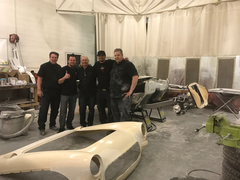 COURTESY PHOTO: JERRY GEISZLER - Don Peterson, Dave Kindig, Jerry Geiszler, Kevin Schiele and Jonah Mezgar pose for a shot amid a busy 12 days refurbishing the 1957 Corvette for Kindigs father-in-law.