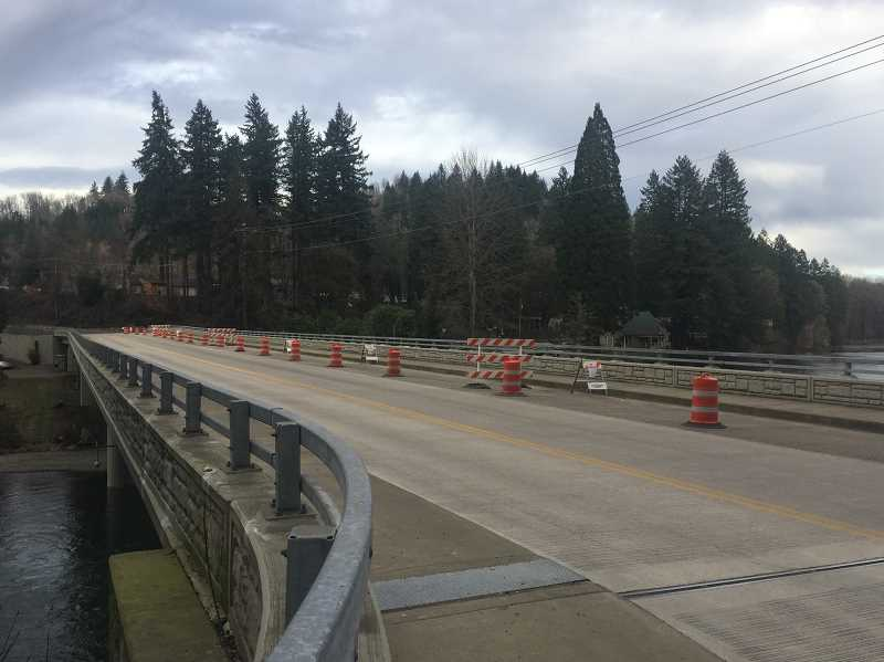 ESTACADA NEWS PHOTO: EMLY LINDSTRAND - Clackamas County officials estimated that the work on Carver Bridge will be completed by the end of this year. Upcoming projects include a new water line, completed bridge approaches and a new traffic signal.