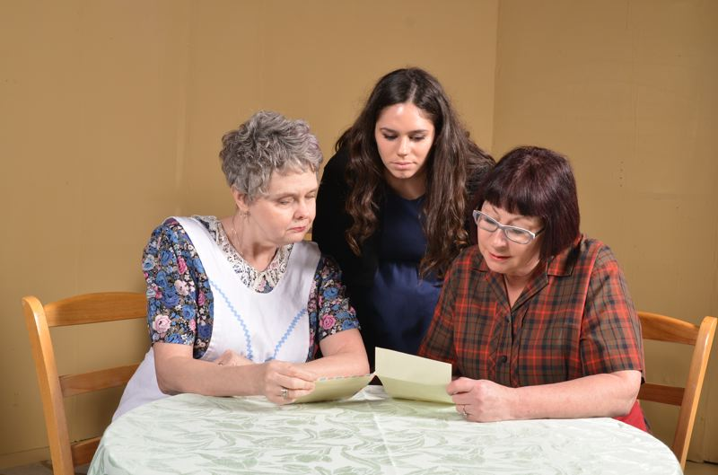 CONTRIBUTED PHOTO - Lady (Laura Reeves), Peg (Tracy Rodriguez) and Rose (Francine Raften) read a letter from Rose's sister sent from Austria in 1938.