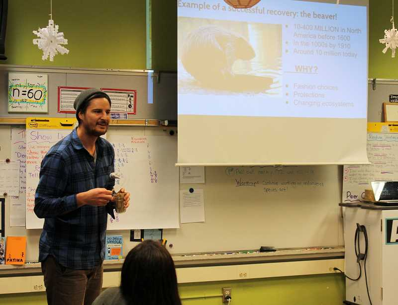 TIDINGS PHOTOS: PATRICK MALEE - As the head of the West Linn Beaver Ambassadors group, Steven Murschel frequently presents at local schools. Here, he speaks with students at Willamette Primary School Jan. 11.