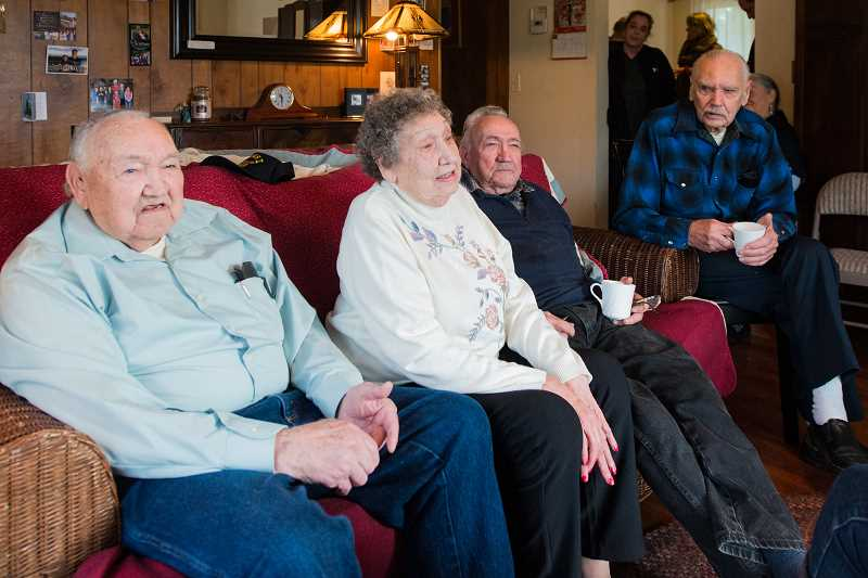 NEWS-TIMES PHOTO: CHRISTOPHER OERTELL - The four Jarrell siblings gathered to reminisce recently and wish the youngest, Parnell, a happy 90th birthday.