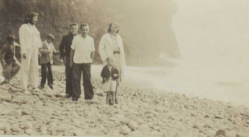 COURTESY PHOTO - (Left to right) Parnell, June, Charles, Jack, Burl, Grace (the siblings mother) and Donald took their first trip to the Oregon Coast in Oceanside in 1938.