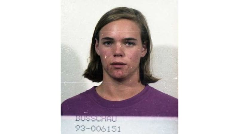 PHOTO COURTESY: FBI - Barrett Preston Busschau shown in a 1993 jail booking photo from the Clackamas County Sheriffs Office.
