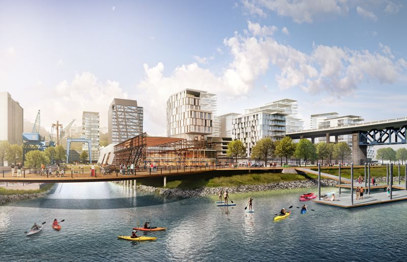 SOURCE: ZIDELL  - Plans for Zidell Yards include a floating dock, office and multi-use spaces and parks.