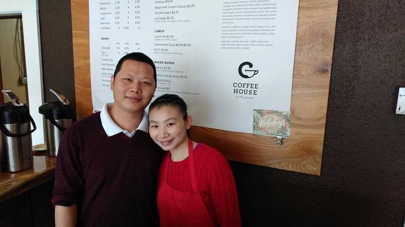 NEWS-TIMES PHOTO: STEPHANIE HAUGEN - David Chen and Feng Li will be moving New Chinese Cuisine, formerly on Main Street, into their Coffee House in the Grove business on 21st Avenue.