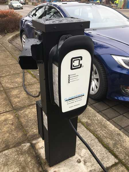 PHOTO COURTESY OF THE CITY OF LAKE OSWEGO - Tesla Motors and Durst Energy LLC have partnered to upgrade the electric charging station on A Avenue near Second Street in downtown Lake Oswego.