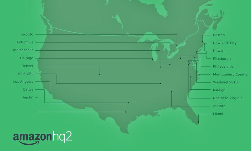 COURTESY GRAPHIC - Cities selected by Amazon to compete for its second national headquarters.