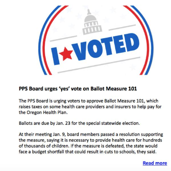 SCREENSHOT: PPS PULSE NEWSLETTER - The Portland Public Schools board voted to urge a yes vote on Measure 101, but the communications department's choice to publicize that decision seems to run afoul of election law.