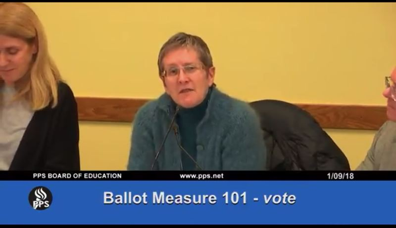SCREENSHOT: PORTLAND PUBLIC SCHOOLS ON YOUTUBE - PPS Board Vice Chair Rita Moore presented the resolution in support of Ballot Measure 101 — staff did not present nor recommend the vote, which was unanimously in favor.