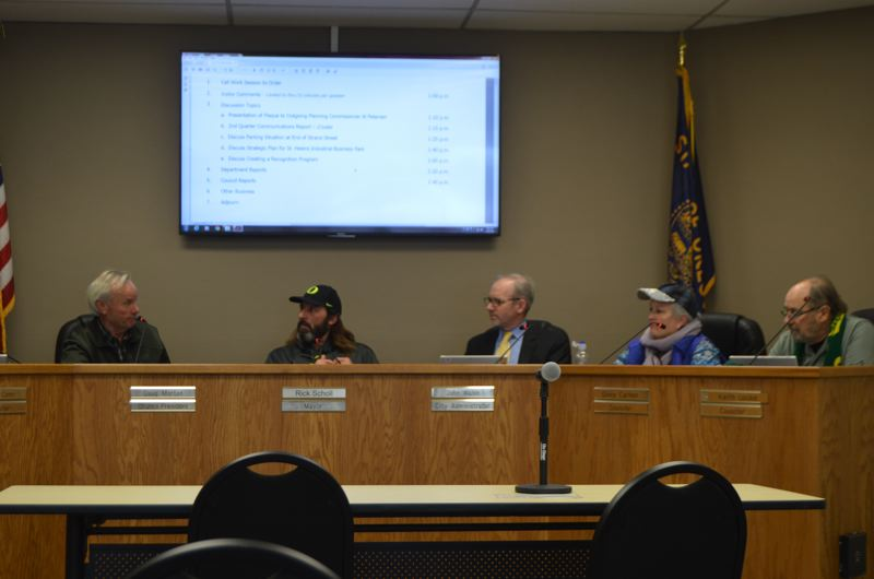 SPOTLIGHT PHOTO: NICOLE THILL - The St. Helens City Council discusses a 200-acre parcel of city-owned property that serves as a heavy industrial site during a meeting Wednesday, Jan. 17. The council is hoping to establish a vision for how to develop the site as a potential industrial park in the future.