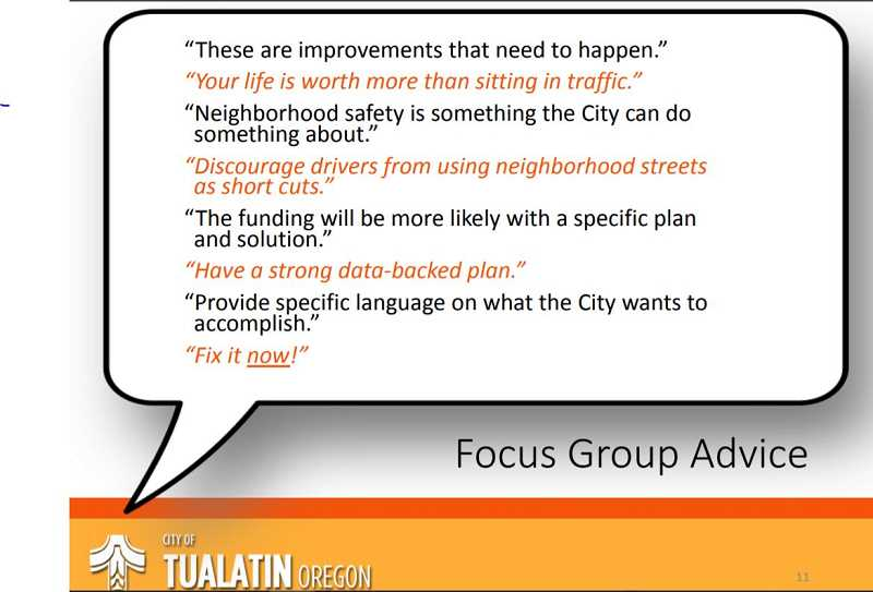 COURTESY CITY OF TUALATIN - Stakeholder and focus groups, along with a telephone survey, generally support a transportation bond the city could send to voters in the spring.