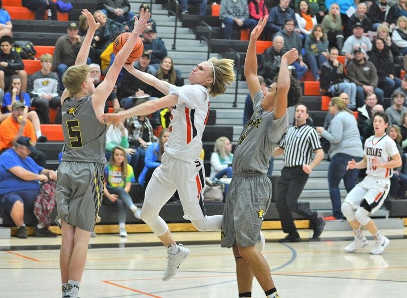 SPOTLIGHT PHOTO: JAKE MCNEAL - The Scappoose boys basketball team will be back in action at 6 p.m. tonight when they host Tillamook in Cowapa League action at Scappoose High School.