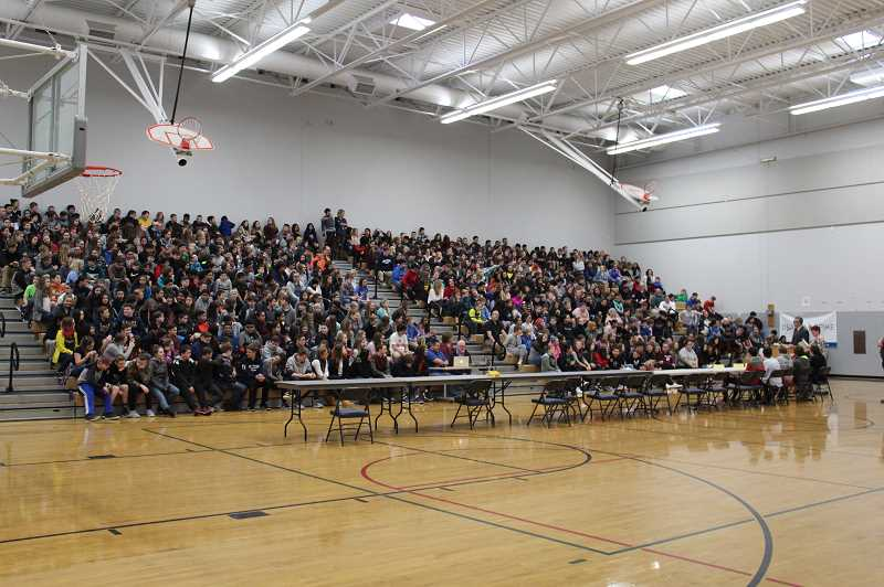HERALD PHOTO: KRISTEN WOHLERS - Students and guests filled the grandstands at Baker Prairie's main gym on Thursday, Jan. 18 for the Geo Bee.
