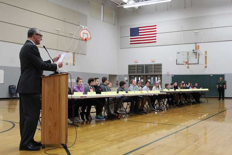 HERALD PHOTO: KRISTEN WOHLERS - Social studies teacher Ron Boost hosted the competition Jan. 18.