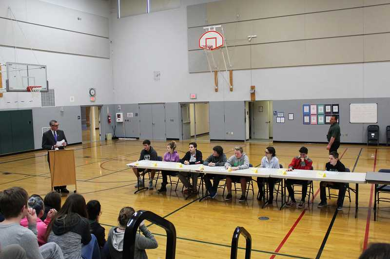 HERALD PHOTO: KRISTEN WOHLERS - Pictured are the top 8 contestants of the Geo Bee.