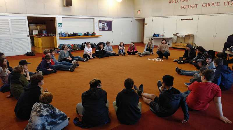 NEWS-TIMES PHOTO: STEPHANIE HAUGEN - Forest Grove Community School students participated in a Peace Village workshop, where they worked on communication, stress management and mindfulness.