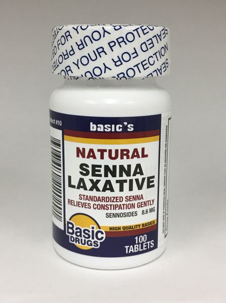 COURTESY PHOTO - Recalled bottles of Basic Drugs brand Senna Laxative, 8.6mg Sennosides have Lot#352300, EXP: 01/19 printed on the bottom of the bottle.