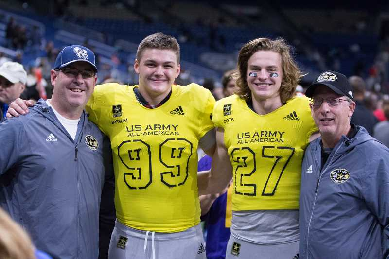 SUBMITTED PHOTO - Draco Bynum with his high school head coach Adam Guenther at the Army All-American Bowl in San Antonio Texas on Jan. 6.