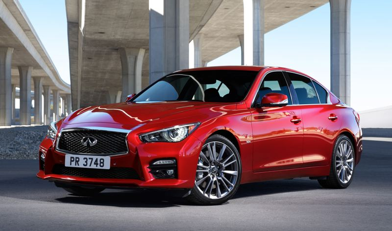COURTESY INFINITI - The 2018 Infiniti Q50 Red Sport 400 AWD features a more aggressive front end and other exterior trim piece to set it apart from less powerful models.