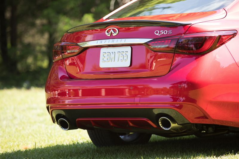 COURTESY INFINITI - The rear spoiler and other special exterior trim pieces on the 2018 Infiniti Q50 Red Sport 400 AWD are subtle but effective.