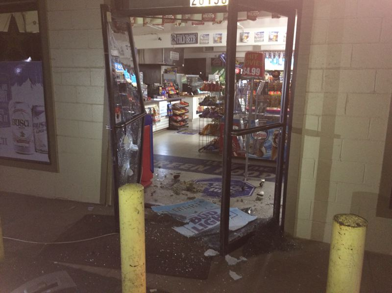 CONTRIBUTED PHOTO: CLACKAMAS COUNTY SHERIFF'S OFFICE - Deputies determined that the crash at Green Food Market was an unsuccessful attempt to steal the ATM located outside.