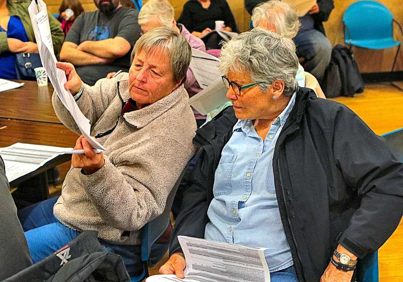 DAVID F. ASHTON - SMILE Vice President Gail Hoffnagle, representing Friends of Sellwood Community Center, and veteran SMILE volunteer Nancy Walsh (at right), discussed the Parks Bureaus budget-cutting choices at the January 4 meeting, one of which could close historic Sellwood Community Center.