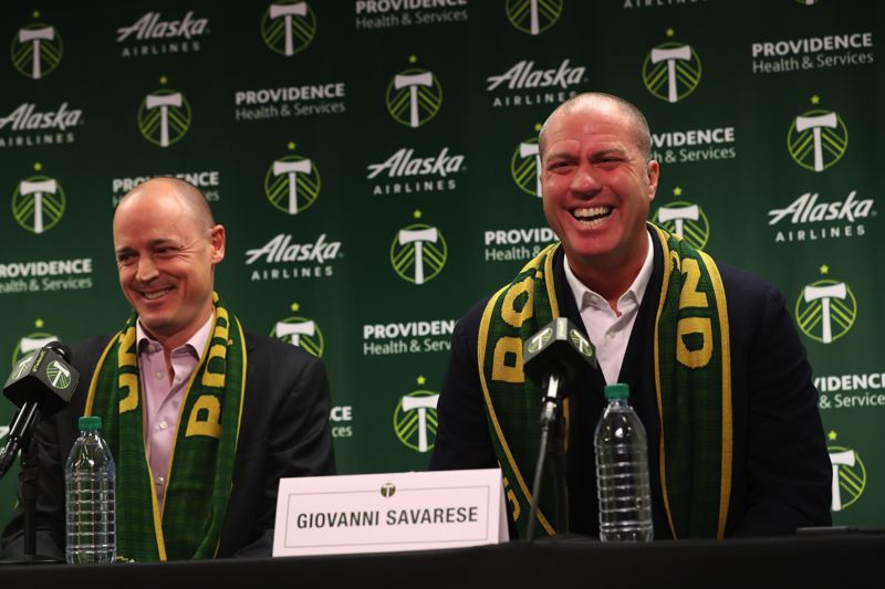 TRIBUNE PHOTO: JAIME VALDEZ - New coach Giovanni Savarese (right) and owner Merritt Paulson soon will be watching as the Portland Timbers open a six-game MLS preseason schedule in Arizona.