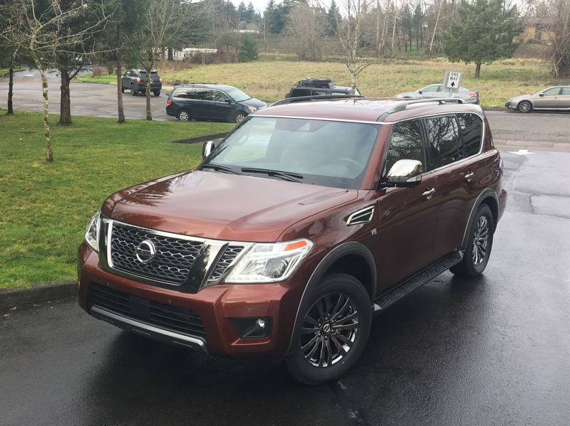 PORTLAND TRIBUNE: JEFF ZURSCHMEIDE - The Armada shares its chassis with the full-size Titan pickup truck, but Nissan goes all-out for luxury with this model. It is comfortable, quiet, and fast.