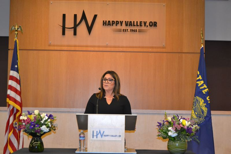 PHOTO BY: DOUG DURLAND - Happy Valley Mayor Lori Chavez-DeRemer as she gave her State of the City speech.