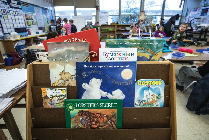 PORTLAND TRIBUNE: JONATHAN HOUSE - Russian children's books in Natalya Kunda's Kelly Elementary class.
