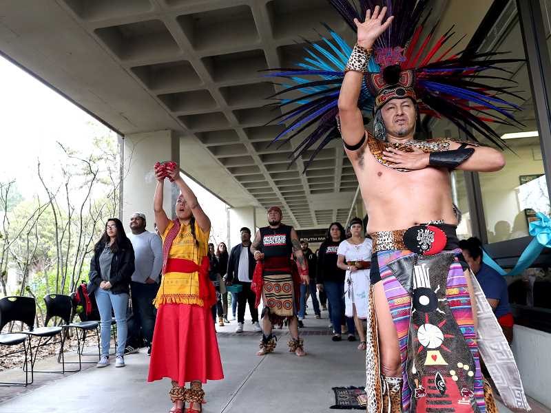 PMG PHOTO: JAIME VALDEZ - Traditional dancers perform during the grand opening of the DREAM center at Portland Community College's Rock Creek campus on Monday.