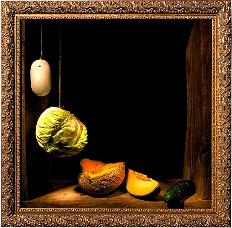 One of the artworks in the current exhibition at Roll-Up Gallery in Sellwood is Mouse, Cabbage, Melon and Cucumber, a 23×23 framed print on canvas.