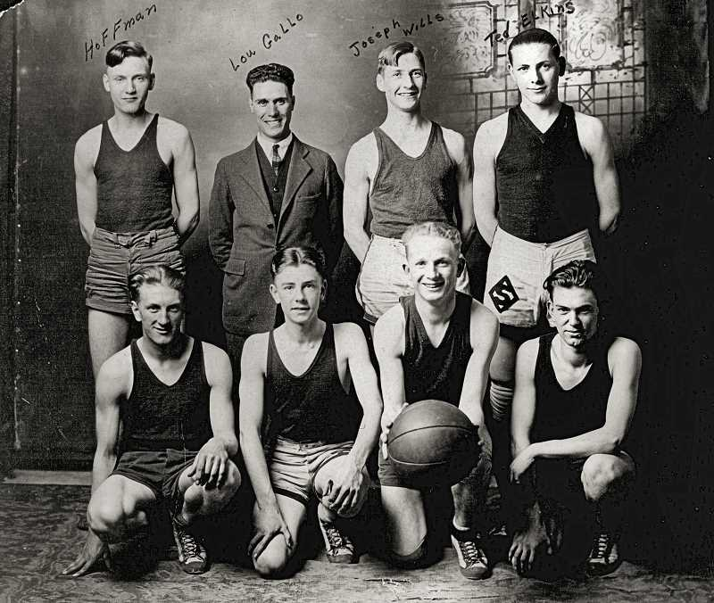 COURTESY BEULAH SCHMOKER HOUDE  - This was the Sellwood Community Center basketball team, around 1924. In the back row, at the far right, is Ted Elkin. Next to him are Joseph Wills, Lou Gallo, and Hoffman. In the front row, in front of Ted, are Matty Poole, Fred Reimer, George Will, and Clarence Schmoker.